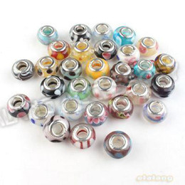 Wholesale Promotion Mixed Round Smooth Lampwork Glass Charm Bead European Spacer Core Bead Fit Bracelet
