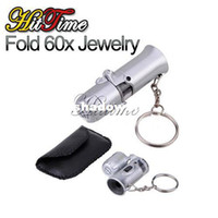 Wholesale Fold Mini Jeweller X Pocket Microscope Magnifier Loupe Glass LED Light UV for Jewelry