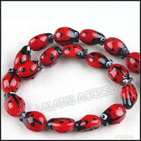 Wholesale strings New Red Ladybird Beads Lampwork Glass Small Hole Beads x10x7mm Fit Beading Jewelry DIY