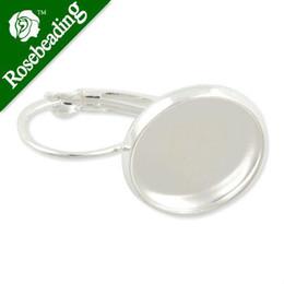 Wholesale Venta por mayor plata francés palanca atrás pendientes en blanco Config Base forma MM vidrio cabujones botones pendiente de biseles pendiente en blanco