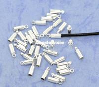 al por mayor collar de punta-Al por mayor - envío 200pcs del cable plateado collar de plata de los granos End Tip Caps 8x2.5mm W / Loop (encajar el cable 1.5-2.0mm) Resultados de la joyería