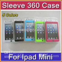 Cheap DHL Hot 30pcs Fashion 5 colors Sleeve 360 Degree with Hand Strap Back Support Cover Case for iPad Mini with retail pack PTA-H