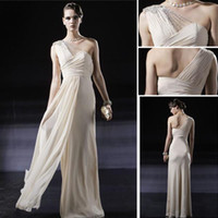 Wholesale Crystals One Shoulder Grey Chiffon Band Prom See Through Long Dress