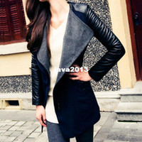 Wholesale High Quality Autumn Winter New In Black Navy Blue Red Contrast PU Leather Sleeve Zipper Woolen Coat For Woman Size S XL