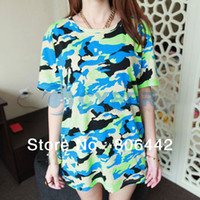 Women Polo Tops 2014 New Summer T Shirt Cool Women's Clothing Short Sleeve Camouflage T-shirt Tops 3Colors 14468