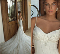 Wholesale Custom Made Beautiful Galia Lahav Lace Pearls Spaghetti Backless Wedding Dresses Bridal Gowns