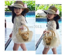 Wholesale Children flower creamy white skirt kids lace dress Korean girl Clothes Autumn baby dresses