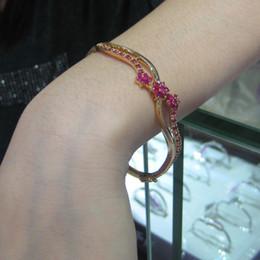 Don't rub off the gold bracelet female 18K gold rose red crystal bracelet bracelet to send Valentine Gift