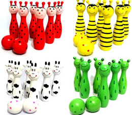 Wholesale The Wooden Bowling with Animal Design Learning System Family Game Education amp Learning Toys Kids Toy