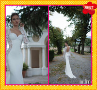 Wholesale Winter Berta Bridal Wedding Dresses Fitted Fish Style Sexy Square Neckline Long Sleeves See Through Lace Applique Formal Wedding Gowns