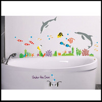 wall tile - Wall Sticker House room Nursery art peel and stick Under the Sea Dolphin and Fish Bathroom Tile Wall Decor Stickers Kids CM