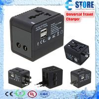 Wholesale 2 USB port Worldwide Universal Travel Adapter Charger US EU UK AU Plug V A for iPhone S ipad Samsung