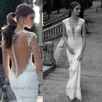 Wholesale 2014 New Sexy Suknie Berta Applique Beads Covered Buttons Mermaid Crew Cap Sleeves Backless Court Train Chiffon Wedding Dresses Dhyz