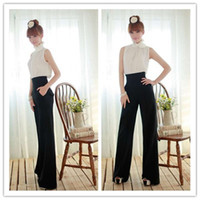 Cheap New Chic Ladys Slim High Waist Flare Wide Leg Long Career Pants Palazzo Trousers