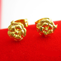 Vietnam gold earrings gold earrings and a gold imitation of 999 gold female flowers gifts for a long time does not fade