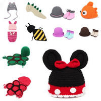 Boy Summer Crochet Hats 3pcs lot Lovely Baby Newborn Nursling Photo Photography Props Costume Handmade Crochet Knitted Hat Animal Beanie Cap Set 10 Styles XDT21-30