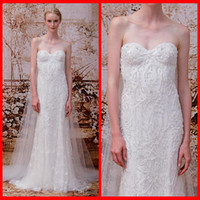 A-Line beading shops - 2014 Monique lhuillier Sweetheart A Line Lace Wedding Dresses With Beading For Bridal Gowns Online Shop