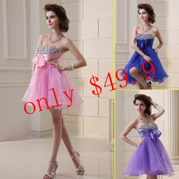 Wholesale Fashion Short Prom Party Homecoming Gowns Sweetheart Blue Pink Beaded Pleats A Line Lace up Organza Mini In Stock Dresses SD019