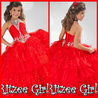 Wholesale New Fashion Red Halter Beads Ritzee Girls PAGEANT Party Prom Wedding Gown Evening Homecoming Dresses