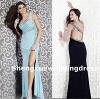 Reference Images One-Shoulder Chiffon 2014 New Beaded One Shoulder Side Slit Full Length Long Backless Chiffon Black Aqua Prom Dresses Formal Evening Ball Gown AW905