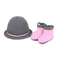 Summer shoes hats caps - 3pcs New Baby Newborn Nursling Photo Photography Props Costume Handmade Crochet Knitted Pink Beanie Caps Hat Boots Shoes Set XDT21