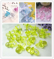 apple baby house - 100 pieces Apple Green Unique Wedding Party Mini Acrylic Baby Pacifier Baby Shower Favors Favours Cute Charms Decorations