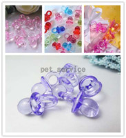 Wholesale 100 pieces Lavender Wedding Party Mini Acrylic Baby Pacifier Baby Shower Favors Favours Cute Charms Decorations