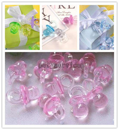 Wholesale 100 pieces Wedding Party Pink Mini Acrylic Baby Pacifier Baby Shower Favors Favours Cute Charm Decorations