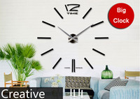 Quartz Analog   [funlife]-Free Shipping 100cm*100cm(39.37*39.37in)Large Mental 3D Big Size Home Decor Sticker Wall Clock (FL12S003S FL12S003)