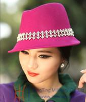 Wholesale New Arrival Women Girl Wool Felt Hat Vintage Top Hat Winter Hat Female Warm Short Brim Diamond Casings Two Colors Free EMS Shipping