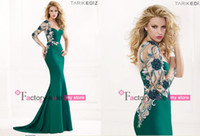 Wholesale 2014 Mermaid Backless Long Sleeve Evening Dresses Sexy Cheap One Shoulder Embroidery Applique Ruffles Satin Long Prom Dresses TE92441