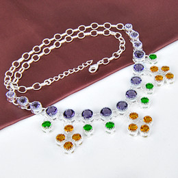Wholesale Rare Remarkable Delicate Lady Jewelry Lovely Purple amethyst Brazil citrine Silver Chain Necklace CN0476