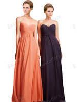 Wholesale In stock chiffon bridesmaid dresses with sweetheart neck pleat bodice Long floor length prom dresses pregnant women party gown AB1221