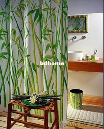 Wholesale Bamboo stand terylene shower curtain waterproof bathroom shower curtain lead wire