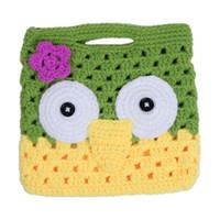 Wholesale Trendy Baby Infant Velvet Crochet Handbag Cute Owl Pattern Children s Bags New Green Yellow DPN6