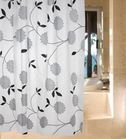 Wholesale 1 m White Base PEVA Gray rose Flowers and leaves Pattern Shower Curtain Hooks elegant Waterproof beautiful design