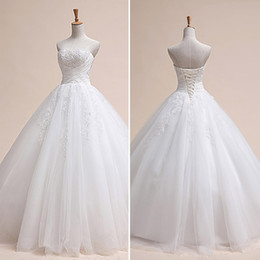 Wholesale Hot Beaded Sweetheart Neckline Long Bridal Dress Pleated Tulle with Applique Floor Length A line Lace up In Stock Wedding Dresses Gowns