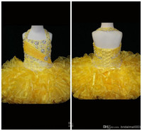 toddler pageant dresses - 2015 hot Organza Gilrs Pageant Dress Halter Little Rosie Cupcake Dress Lovely Little Rosie Short Yellow Glitz Toddler Pageant Dress HY706