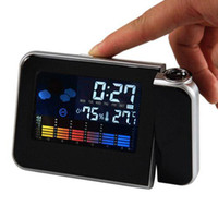 Wholesale S5Q New Digital Weather Thermometer Projection Snooze Alarm Clock Color Display AAAAUM