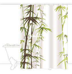 Wholesale Elegant Bamboo Design Bathroom Waterproof Fabric Shower Curtain Free Hooks And Tracking Number