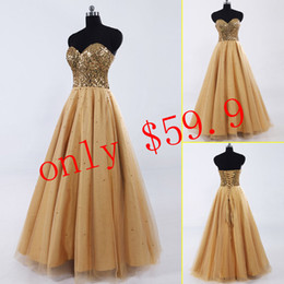 Wholesale Under Cheap Gold Sequins Long Prom Gowns Sweetheart Floor length Lace up Tulle In Stock A Line Formal Evening Dresses SD033