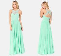 maxi dresses - Charming Open Back Chiffon Evening Gowns Mint Green Bridesmaid dresses Lace Maxi Dress Tank Straps A Long Mint Prom Dress Formal Dress