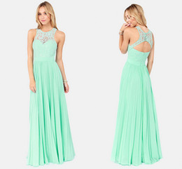 Wholesale ZM Charming Floor Length Sleeveless Formal Gowns New Spring Mint Green Lace Maxi Dress Tank Straps Chiffon Long Formal Evening Dresses