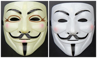 Wholesale Yellow White with pink blush V for vendetta mask Christmas Masks Halloween Mask