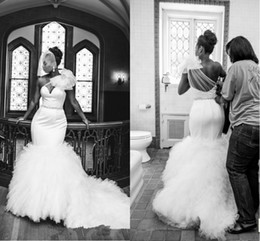 Wholesale 2014 Vingtage Plus Size Mermaid Wedding Dresses One Shoulder Big Bow Backless Tulle Ruffles Court Train Garden Sheer Bridal Gowns BO2298