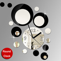 Wholesale funlife cm in Fashion Artistic Quartz Circles Home Decorative Mirror Wall Clock wc1034