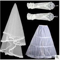 One-Layer Shoulder Length Lace Applique Edge Lace wedding dress veil stretch satin gloves net veil stays three combinations
