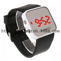Casual Unisex Auto Date Fashion Cheap LED Watch Digital Display Mirror Mens Touch Screen Silicone Date Unisex Sport Watch Wrist Watch Red Light Digital Disp