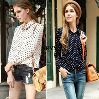 Cheap Details about 2013 White Navy Women Shirt Polka Dots Chiffon Vintage Blouse Long Sleeve S-XXL