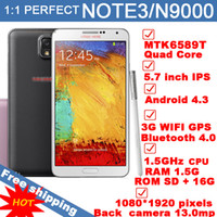 "Best HOT N9000 Note 3 Note3 Note III phone Android 4.3 MTK6589T 5.7"" 1920*1080 1G Ram 16G Rom DHL & Singapore FREE SHIPPING"